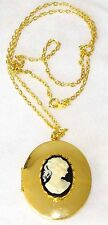 Black / White Cameo set in a Gold Plated Locket Pendant with chain