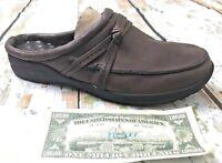 L.L.Bean Mules Moc's Brown Leather Low Back Slip On Slides Knot Women's 9.5M GUC