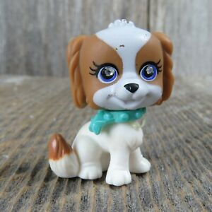 Polly Pocket Sparkling Pets Puppy Dog White Brown Toy Blue Collar Rhinestone 56