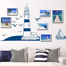 EP_ Tower Sailboat Sea Gull Photo Home Art Wall Sticker DIY Decal Paper Decor Ca