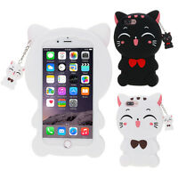 Cute 3D Cartoon Cat Soft Silicone Back Case Cover For iPhone 5 5S SE 6 6S 7 Plus