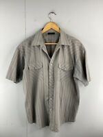 Shock Resistant Mens Short Sleeved Pearl Snap Button Up Shirt Size L Grey Stripe