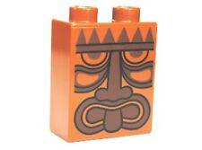 LEGO - Duplo, Brick 1 x 2 x 2 with Tribal Mask Pattern - Dark Orange