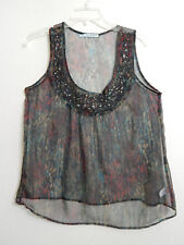 Maurices Womens Large Sheer Blouse Black + Abstract Colors Goth