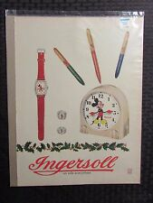1948 Disney Ingersoll Full Page Color Ad 10.5x14 Fn 6.0 Mickey Mouse Watch Clock