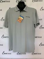 NWT Columbia Size L Utilizer Solid Mesh Short Sleeve Polo Shirt Omni Wick A-5