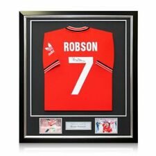 Bryan Robson Signed Manchester United 1984 Soccer Jersey. Framed
