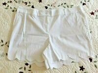 Talbots Womens Shorts White Cotton Mid Rise Stretch Scalloped Chino Size 16P