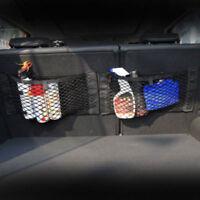 Car Mesh Storage Bag Pocket Cage Back Rear Trunk Seat Elastic String Net Black