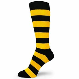 Black Gloden Yellow Premium Quality Stripe Mens Groomsmen Socks MA139