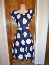 Stunning navy+white skater Retro 50s Rockabilly/swing pin up dress size 18