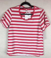 La Boutique Sleepwear Top BNWT Size Small Short Sleeved Pink White Striped