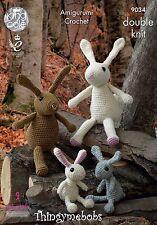 King Cole Amigurumi Crochet The Rabbit Family Toys DK Yarn Pattern 9034