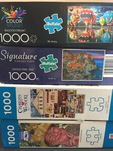 Lot 4 1000 Piece Puzzles: Balloon Dream, Italy, Wysocki, Best Friends