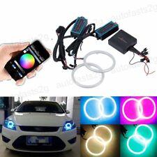 2x 100MM RGB COB LED Angel Eye Lights Halo Rings Headlight DRL Phone Control Kit