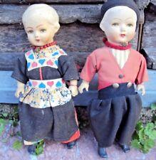 deux poupées bras, jambes, en céramique (Alsace?)