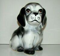 Vintage Ceramic Puppy Dog Planter Vase Spaniel Labrador Black And White