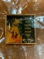 Vintage NASA Space Shuttle MFA Flight Safety Award 1992 Enamel Pin -Rockwell Int