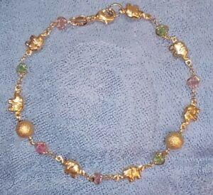 NWOT Elephant Gold Plate GMR Silver w/ Yellow Gold & Gems Anklet Bracelet