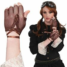 Adult Ladies Victorian Steampunk Fancy Dress Fingerless Fishnet Gloves Ribbon