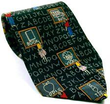 School Chalk Board Student Alphabet Men's Dress Necktie 100% Silk Novelty