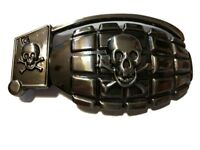 "♈ SKULL GRENADE Pirate ♈ Gun Metal Color  large 4.6""x 2.5"" Skeleton Belt Buckle"