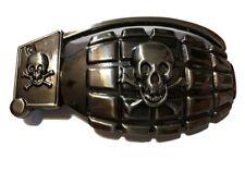 "♈ SKULL GRENADE Pirate ♈ Gun Metal Color  large 4.6""x 2.5"" Skeleton Belt Buckle"