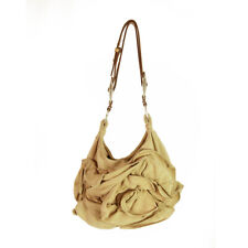 YVES SAINT LAURENT YSL Camel Sueded Leather Nadja Rose Petal Bag