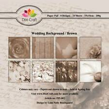 New Dixi Craft 15cm x 15cm Paper Sheets Wedding Background / Brown