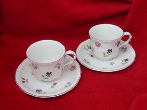2 Kaffeetassen mit Untertassen , Villeroy & Boch , Petite  Fleur
