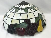 """16"""" Vtg Arts & Crafts Slag Stained Glass Lamp Shade (Repro.) FRUIT Tiffany Style"""