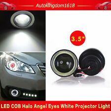 "2X 3.5"" Inch COB LED Fog Light Projector White Angel Eyes Halo Ring DRL Lamp USA"