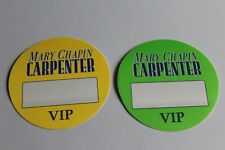 Mary Chapin Carpenter - 2 x Backstage Pass - VIP  - Free Postage -