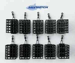 Pack of 10 MDI Match 15g Square Metal Wire Cage Swim Feeders with Swivel