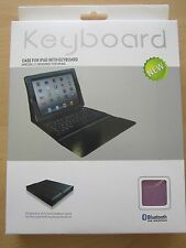 Light Purple Bluetooth Keyboard Real Leather Carry Case/Stand Apple iPad 1,2,3