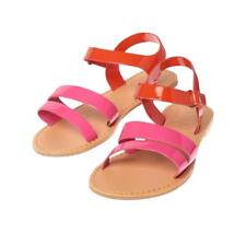 NWT Crazy 8 Colorblock Pink Orange Faux Leather Girls Sandals Shoes 12