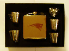 NEW ENGLAND PATRIOT 6 OZ LEATHER ENGRAVED STAINLESS STEEL FLASK W 4 SHOT GLASSES