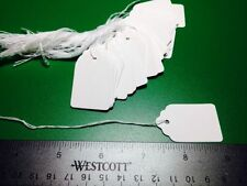 New 100 White #3 Price Tags Blank Strings Strung Retail Store Merchandise Sales