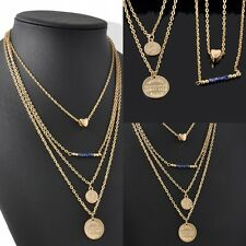 Four layers Gold Chain Double Disc Heart Beads Pendant Necklace Women's jewelry