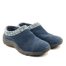 Vionic Arbor Womens Blue Suede Leather Knit Comfort Slip-On Clogs Mules Sz 6