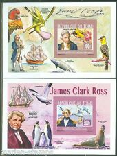 CHAD 2014  JAMES COOK & JAMES CLARK ROSS  SET OF TWO SOUVENIR  SHEETS IMPERF NH