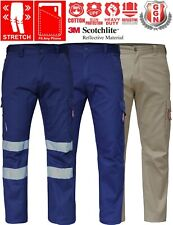 CARGO PANTS Mens Stretch Cotton Work Trousers Classic Fit UPF 50+ Drill 3M Tape