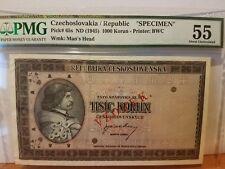 Czechoslovakia specimen from government bank scare 1000 korun PMG 55