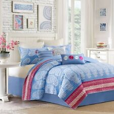 5-Pc Echo Woodblock Paisley Full-Queen Cotton Quilt Set Coverlet Blue White Pink