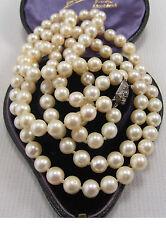 Vintage 2 Strand conjunto de collar de perlas con un broche de plata