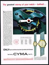 1950's Old Vintage 1953 Cyma Watch Co. Cymaflex Anti Shock Device Art Print AD