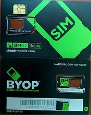 PREPAID Simple Mobile NANO Sim Card (CUT) USE GSM T-MOBILE NETWORK.