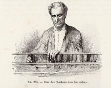 INDUSTRIE POSE DES CHARBONS DANS LES CADRES IMAGE 1875 INDUSTRY OLD PRINT