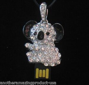 Koala Bear USB Memory Stick Thumb Drive Silver Metal Chrystal Jewelry Necklace