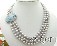 N0902023 8.5mm Gray Pearl Necklace-Cameo Clasp